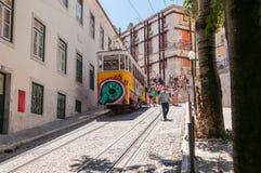 Gloria funicular en Lisboa Imagenes de archivo