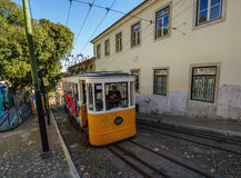 Gloria Funicular in Lisbon Royalty Free Stock Photo