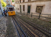 Gloria Funicular in Lisbon Stock Photo