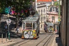 Gloria funicular. Lisbon, Portugal Royalty Free Stock Photo