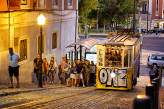 The Gloria Funicular in Lisbon, Portugal. Stock Photography
