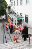 Gloria funicular May 7, 2013 in Lisbon, Portugal. Royalty Free Stock Images
