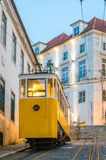 The Gloria funicular in the old town of Lisbon royalty free stock images