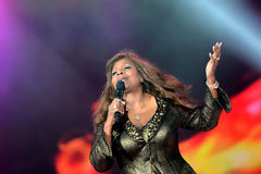Gloria Gaynor performing at Exit festival. Disco diva Gloria Gaynor performing on the main stage at Exit festival, held on Petrovaradin fortress at Novi Sad Royalty Free Stock Photography