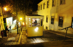 Lisbon Typical Yellow Cablecars, Gloria Tram at Night, Streetcars. One of the typical yellow trams in one of the hills of Lisbon, Portugal. This  funicular Royalty Free Stock Photo