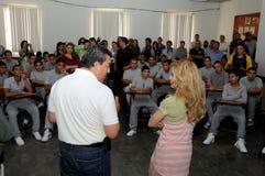 Gloria trevi speaks before teenage inmates. Gloria Trevi speaks to a group on teenage  inmates during her visit to prision Stock Photo