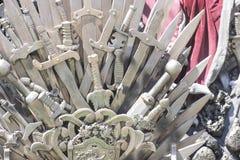 Gloria, trono reale fatto delle spade del ferro, sedile del re, symbo Fotografia Stock Libera da Diritti