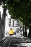 Yellow Cable Car, Streetcar, City Tram, Lisbon Transportation - B&W Background Stock Photos