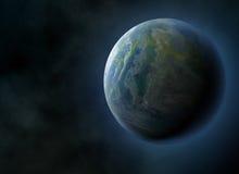 Gloriajordplanet på kosmoshimmelbakgrunder Arkivbild
