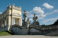 Gloriette and beautiful statues in the garden of Schonbrunn Stock Photos