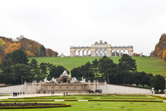 Gloriette and Neptune Fountain at Schonbrunn Palace in Vienna Royalty Free Stock Photo