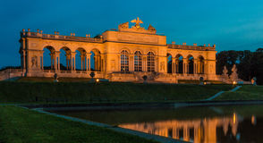 Gloriette Reflection at Night in Schonbrunn Palace gardens, Vienna, Austria Royalty Free Stock Image