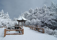 Gloriette with snow. At MT.Emei Royalty Free Stock Images