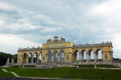 Gloriette, Vienna. The Early Classicistic colonnaded Gloriette was built to Hohenberg's designs on the crest of the hill in 1775. The structure consists of a stock photo