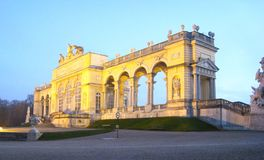 Beautifully panorama view with the Gloriette in vienna at the blue hour stock photo