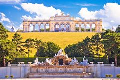 Gloriette viewpoint and Schlossberg fountain in Vienna view royalty free stock photo