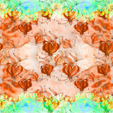 Gloriosa картина безшовная Цветки и листья - фоновое изображение акварели - декоративный состав Используйте напечатанные материал Стоковые Фотографии RF