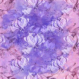 Gloriosa картина безшовная Цветки и листья - фоновое изображение акварели - декоративный состав Используйте напечатанные материал Стоковые Изображения RF