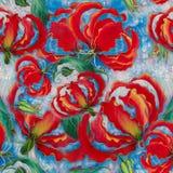 Gloriosa. Flowers and leaves.Batik.  Seamless pattern.  Wallpaper. Seamless pattern. Royalty Free Stock Images