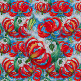 Gloriosa. Flowers and leaves.Batik.  Seamless pattern.  Wallpaper. Royalty Free Stock Photo