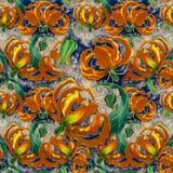 Gloriosa. Flowers and leaves.Batik.  Seamless pattern.  Wallpaper. Royalty Free Stock Photography