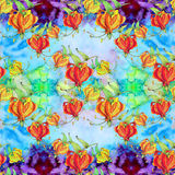 Gloriosa.Seamless pattern. Flowers and leaves - watercolor background image - decorative composition. Use printed materials, signs Stock Images