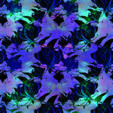 Gloriosa.Seamless pattern. Flowers and leaves - watercolor background image - decorative composition. Use printed materials, signs Royalty Free Stock Photos