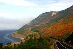 Cap Rouge Cape Breton. Glorious autumn colours on the winding roads of Cape Breton`s Cabot Trail royalty free stock photo