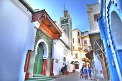 The glorious Big Mosque in Tanger. The glorious Big Mosque in the heart of the medina of Tangier in the Kingdom of Morocco in Africa royalty free stock photos