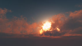 Glorious dawn - sun through cumulus clouds Royalty Free Stock Image