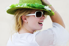 Glorious day. A young blond woman in summer vacation setting Royalty Free Stock Photo