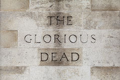The Glorious Dead Inscription on the Cenotaph in London. The Glorious Dead inscription on the Cenotaph War Memorial located on Whitehall in London stock photos