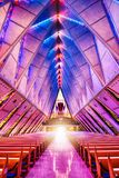 Glorious Glowing Colorat the Air Force Academy Chapel in Colorado Springs. A deep and wide view of this inspiring photo of the Air Force Academy Chapel stock image