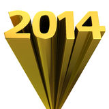 Glorious 2014. Golden digits 2014 moving up on the white background vector illustration