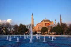 The glorious museum of Hagia Sophia in modern Istanbul. The majestic museum of Hagia Sophia, the most famous byzantine architectural achievement royalty free stock photo