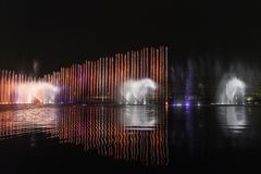 Big Electric fountain musical, okada, manila, night, illuminated Stock Photos