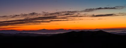 Glorious panorama  of the Blue ridge mountains at sunrise Stock Images