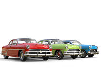 Glorious red, green and blue vintage cars. Isolated on white background Royalty Free Stock Image