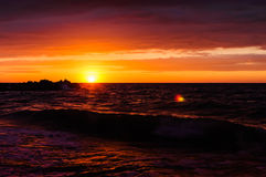 Glorious Red Sunset Over The Sea Royalty Free Stock Photos