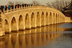 17 arch bridge sunset, China royalty free stock photo