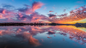 Glorious sunset over the Anacostia River in DC Stock Photo