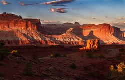 Glorious sunset on the rock formations of Capitol Reef National Park in Utah. USA royalty free stock images