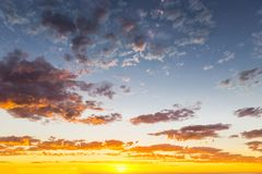 Glorious sunset seascape at Glenelg beach, Adelaide, Australia. Evening sunset landscape sun on a background of cloudy sky stock images