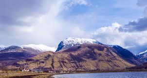 View of the Ben Nevis Range at Fort William in the Highlands of Scotland stock photo