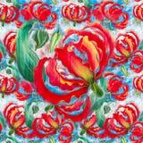 Glorioza. Flowers and leaves.Batik. Wallpaper. Seamless pattern. Royalty Free Stock Images