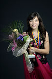 Glorius teen holding prize Royalty Free Stock Photography