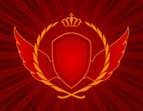 Glory. The Wing, corona, armour on red background. Glory and victory Stock Image