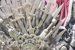 Glory, royal throne made of iron swords, seat of the king, symbo Royalty Free Stock Photography