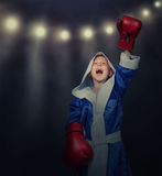 Glory time for little boxer. Glory time for a little boxer Royalty Free Stock Photography