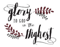 Glory to God in the Highest Typography Design Christmas Card Calligraphy Stock Photography